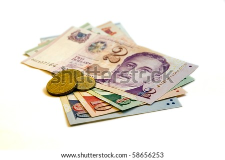 Sixty seven Singapore Dollars and change on a white background. - stock photo