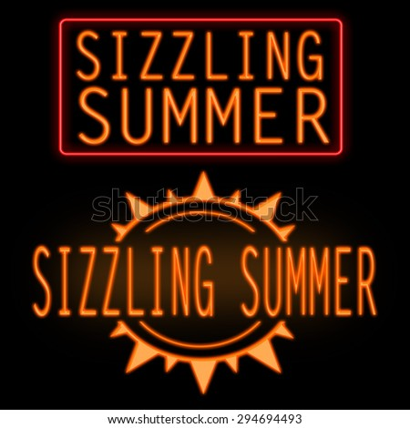 Sizzling summer glowing neon sign on black background - stock photo