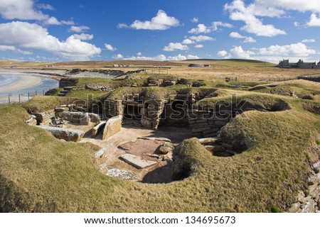 Skara Brae. Prehistoric settlement, Orkney, Scotland. - stock photo