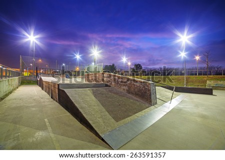 Skate park in Gdansk at dusk, Poland. - stock photo