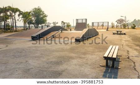 Skate Park in the daytime. Customizable dark tones . - stock photo