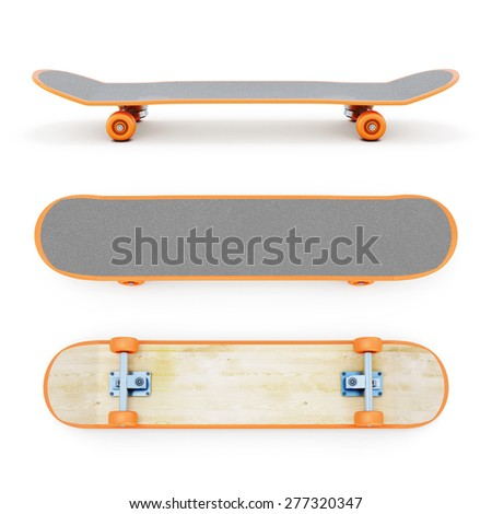 Skateboard clipping path. 3d render image. - stock photo