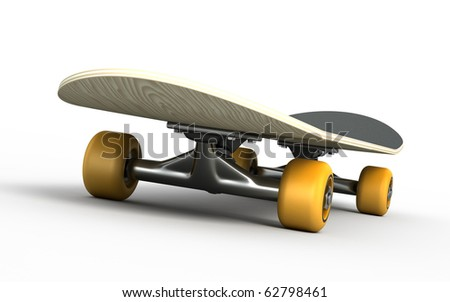 Skateboard isolated on white - stock photo
