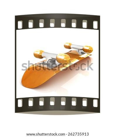 Skateboard on a white background. The film strip - stock photo
