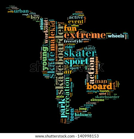 Skateboarder info-colorful text graphic and arrangement concept on black background (word cloud) - stock photo