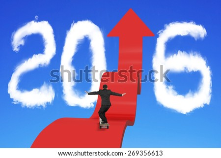 Skateboarding businessman balancing on red arrow upward path with 2016 shape clouds and blue sky background - stock photo