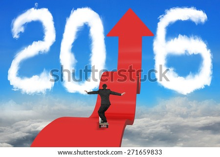 Skateboarding businessman balancing on red arrow upward path with 2016 shape clouds and sky cloudscape background - stock photo