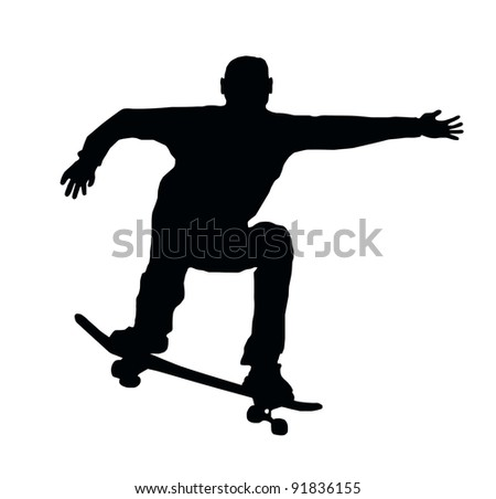 Skateboarding Skater do Ollie Jump with Board - stock photo