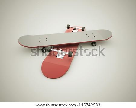 Skateboards red - stock photo