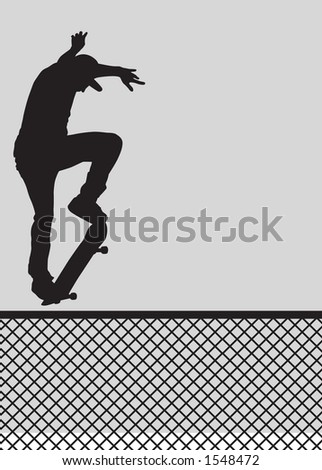 Skater silhouette ollie'ing a fence.  Clipping path included. - stock photo
