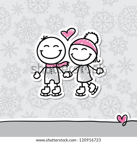 skaters couple on gray background, hand drawn illustration - stock photo