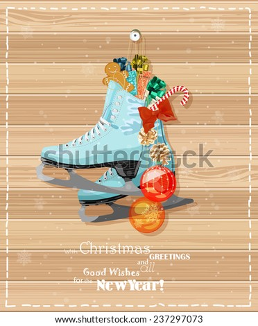 Skates with Christmas decorations, cookies, candies at Christmas Greeting Cards - stock photo