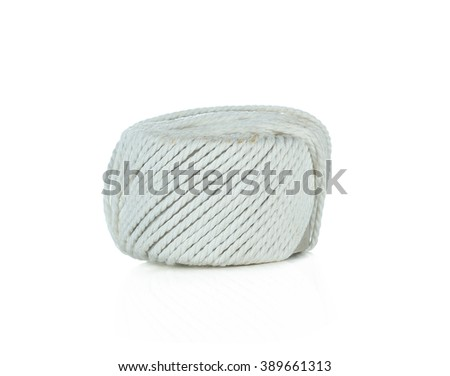 Skein of braided rope, hemp roll, isolated on white background. - stock photo