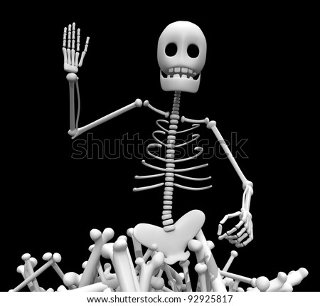 skeleton and bones close - stock photo