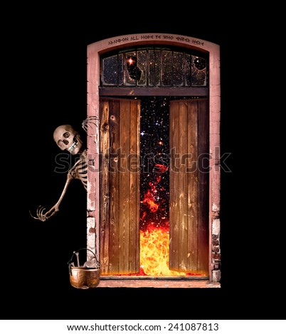 Skeleton beckons all to enter the gate to Hell.  - stock photo