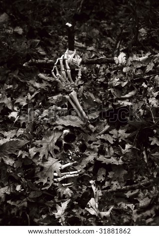 skeleton coming out of its grave - stock photo