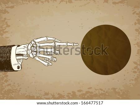 Skeleton Hand Pointing. Raster version. - stock photo