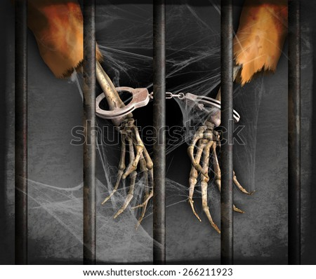 Skeleton hands represent excessively long prison sentences in the US - 3d renders with digital painting. - stock photo