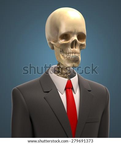 skeleton in business suit 3d illustration - stock photo
