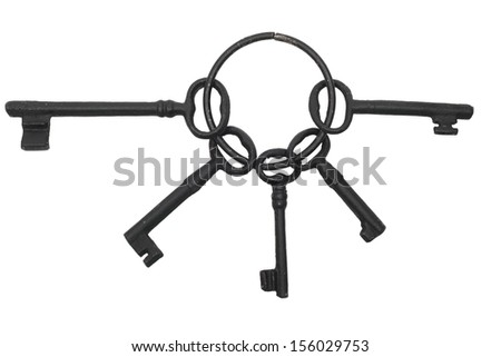 Skeleton Key chain, isolated on white with clipping path - stock photo