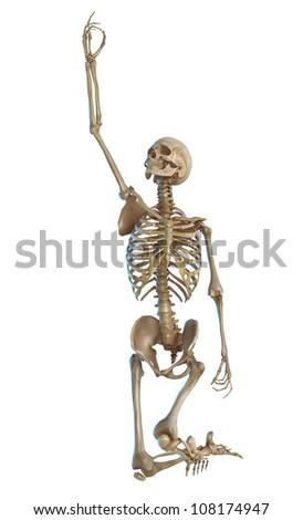skeleton praying to lord - stock photo