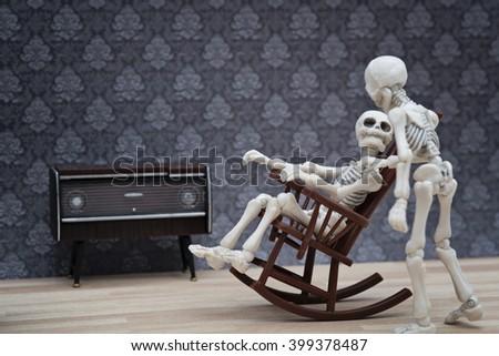 skeleton talk - stock photo