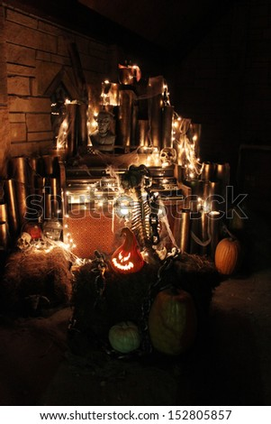 Skeleton with lights as part of Halloween decoration - stock photo