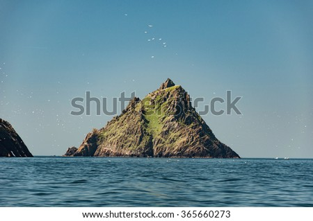 Skellig Michael, UNESCO World Heritage Site, Kerry, Ireland. Star Wars The Force Awakens Scene filmed on this Island. wild atlantic way - stock photo