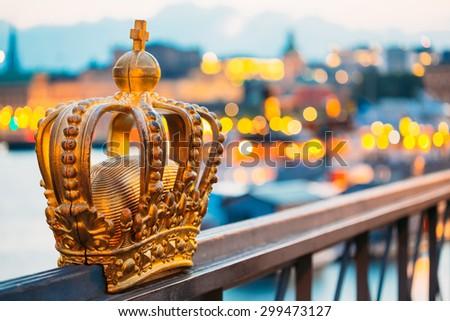 Skeppsholmsbron (Skeppsholm Bridge) With Its Famous Golden Crown In Stockholm, Sweden - stock photo