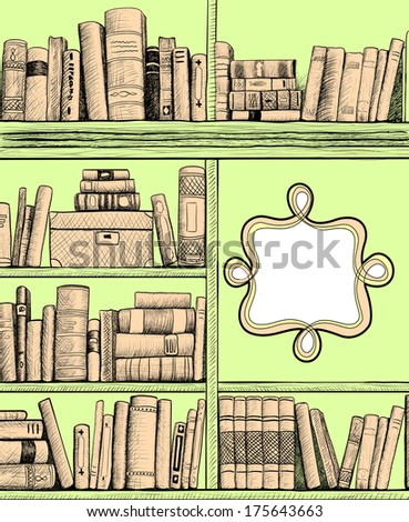 Sketch background with a book shelves - stock photo