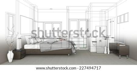 sketch design of bedroom ,3dwireframe render  - stock photo