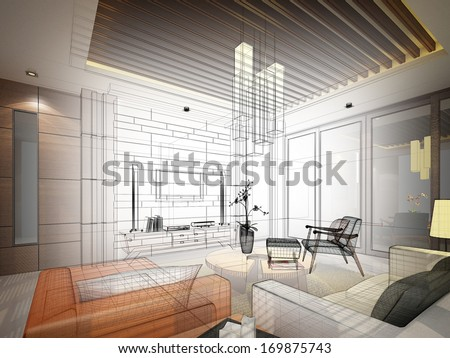 sketch design of interior living - stock photo
