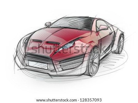 Sketch drawing of a sports car. Non-branded concept car. - stock photo