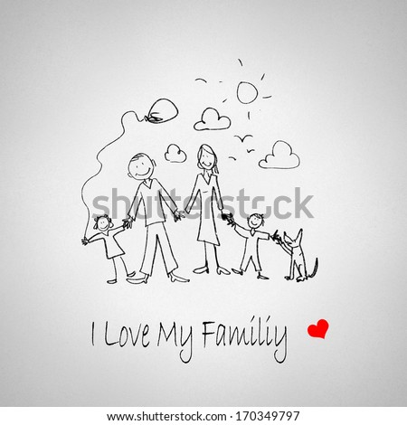 Sketch funny image of happy parents and children - stock photo