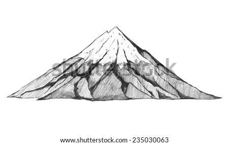 Sketch illustration of a mountain - stock photo