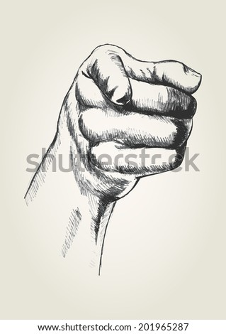 Sketch illustration of a pointing right hand - stock photo