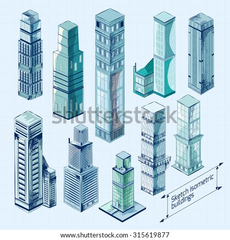 Sketch isometric 3d business buildings colored skyscraper decorative icons set isolated  illustration - stock photo