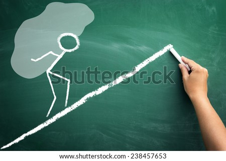 sketch man carrying a big load of debt in a form of giant stone, concept overwhelming debt - stock photo