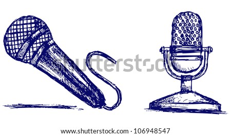 Sketch microphone. Raster - stock photo