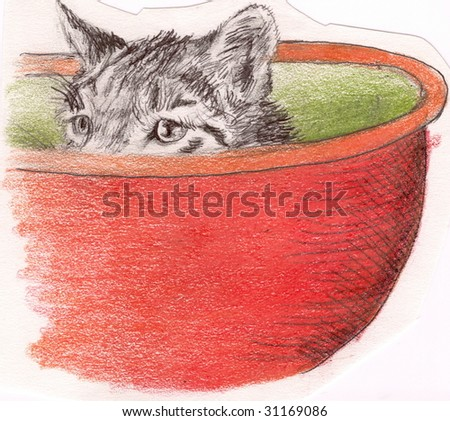 Sketch of a cat poking his head out of a bowl - stock photo