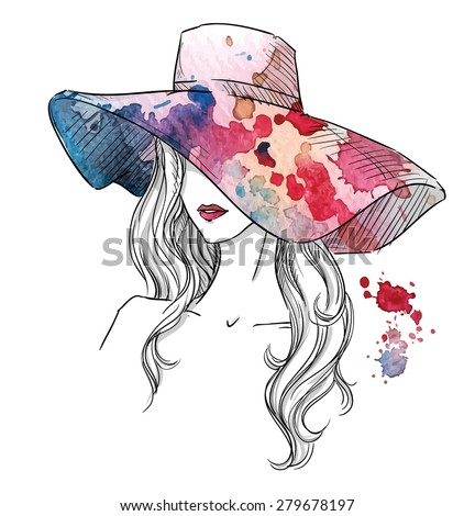 Sketch of a girl in a hat. Fashion illustration. Hand drawn. - stock photo