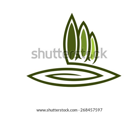 Sketch of a green eco symbol with a row of tall cypresses and a swirl depicting the green landscape - stock photo