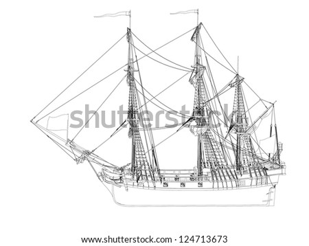 sketch of a ship with flured sales - stock photo