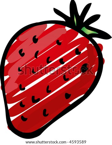 Sketch of a strawberry. Hand-drawn lineart look illustration rough sketchy coloring - stock photo