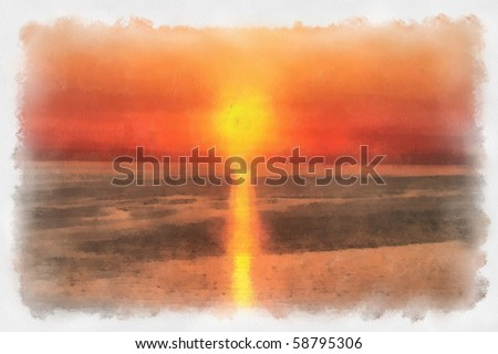 sketch of a sunset on watercolor paper - stock photo
