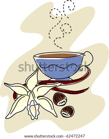 sketch of a vanilla orchid, vanilla beans, and hazelnuts with a steaming cup of flavored coffee. - stock photo