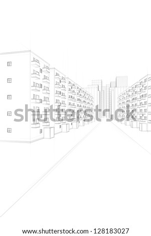 sketch of an urban street with apartment buildings - stock photo