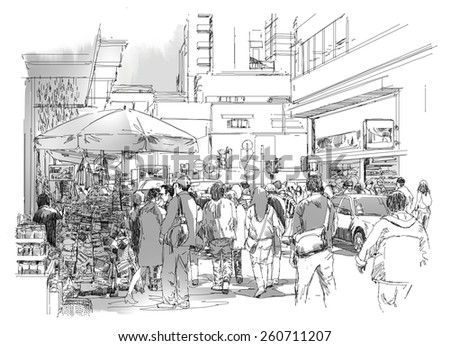 sketch of crowd of people in commercial and busy street  - stock photo