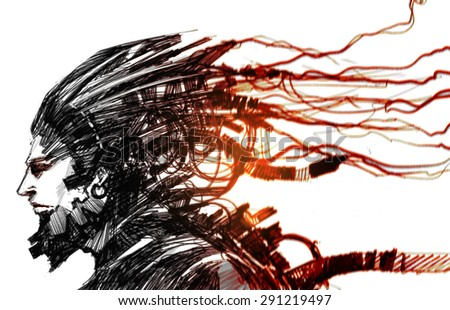 sketch of futuristic character,cyber human - stock photo