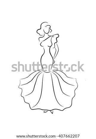 sketch of glamorous young girl  - stock photo